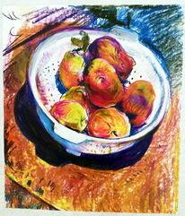 Stillleben, Teller mit obst, Pastellkreide auf kunstpapier, Malerei