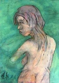 Meer, Pastellmalerei, Junge frau, Malerei