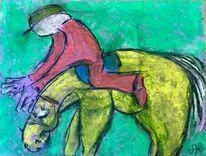 Reiter, Pferde, Absturz, Pastellmalerei