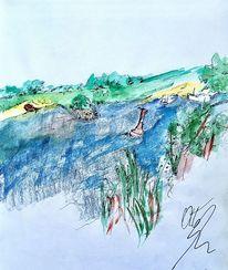 Fluss, Boje, Strand, Aquarell
