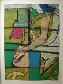 Im fenster sitzende, Pastellkreide auf tonpapier, Malerei, Fenster