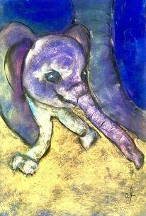 Elefant, Baby, Pastellmalerei, Tonkarton