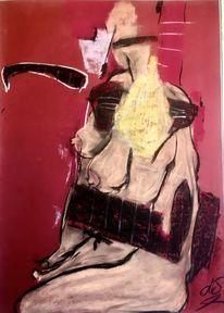 Skurril, Akt, Pastellmalerei, Tonkarton