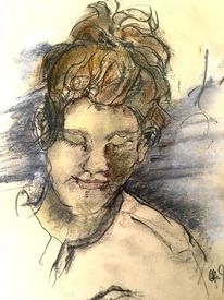 Pastellmalerei, Aufgestecktes haar, Grafit, Geschlossene augen