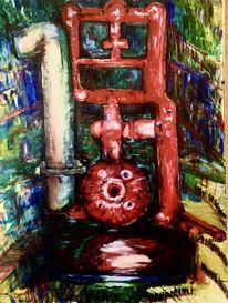 Bootsmotor, Schwungrad, Auspuff, Malerei