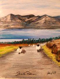 Connemara, Pastellmalerei, Irland, Schaf