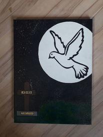 Mond, Kreuz, Taube, Malerei
