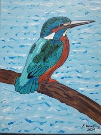 Vogel, Wasser, Äste, Malerei