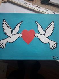Taube, Herz, Himmelblau, Malerei
