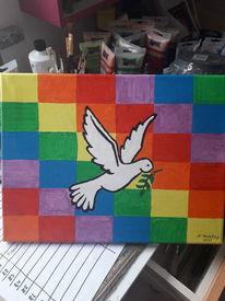 Regenbogenfarbmuster, Bunt, Taube, Malerei