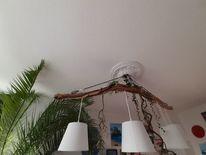 Lampe, Treibholz, Seil, Kunsthandwerk