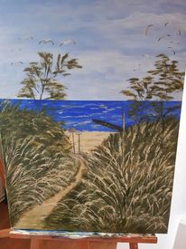 Acrylmalerei, Landschaft, Strand, Welle