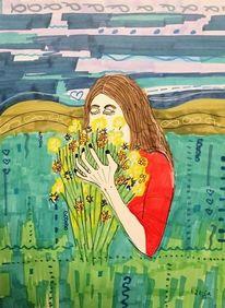 Blumen, Blumenstrauch, Genießend, Atmen