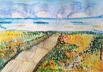 Holztreppe, Wolken, Meer, Sylt
