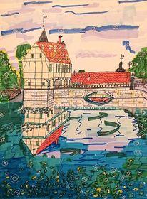 Wasserspiegelungen, Sommer, Schloss steinfurt, Münsterland