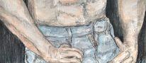 Mann, Jeans, Haut, Aquarell