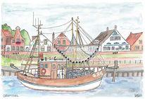 Hafen, Stadtansicht, Ostfriesland, Schiff