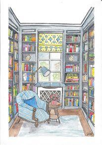 Raum, Bibliothek, Illustration, Leseplatz