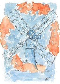 Windmühle, Architektur, Aquarellmalerei, Blau