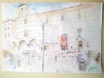 Kirche, Menschen, Perugia, Szenerie