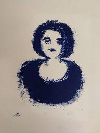 Portrait, Gesicht, Steindruck, Frau