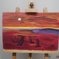 Acrylmalerei, Malkarton, Landschaft, Malerei