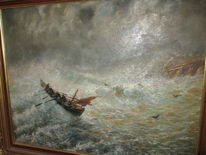 Aquarellmalerei, See, Malerei, Boot