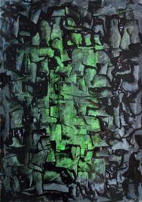 Schwarz, Grün, Verwoben, Malerei