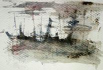 Schiff, Unwetter, Dunkel, Malerei