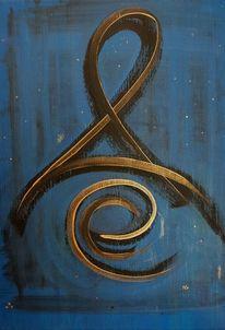 Symbol, Blau, Gold, Malerei