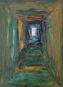 Grün, Weg, Tunnel, Malerei