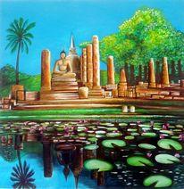 Wasserspiegelung, Landschaft, Tempel, Malerei