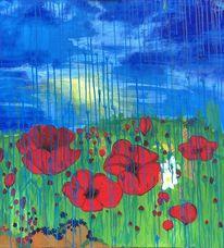 Blumenwiese im regen, Malerei, Landschaft, Blumen