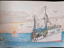 Fischkutter, Wasser, Himmel, Zeichnungen
