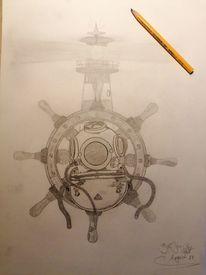 Steuerrad, Leuchtturm, Taucherhelm, Zeichnungen