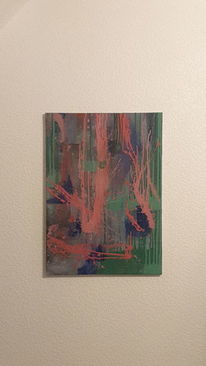 Blau, Acrylmalerei, Spritzer, Rot