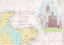 Leuchtturm, Meer, Rügen, Malerei