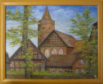 Mecklenburg, Burg stargard, Mittelalterburg, Ölmalerei