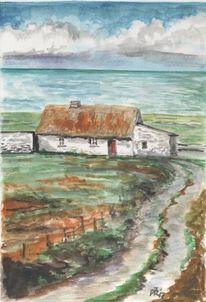 Küste, Irland, Aquarell,