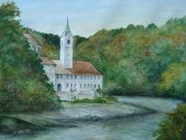 Donau, Aquarellmalerei, Kloster weltenburg, Aquarell