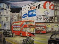 London, Nacht, Stadtansicht, Aquarell