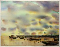 Abendhimmel, Landschaft, Meer, Landschaftsmalerei