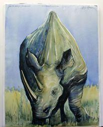 Afrika, Nashorn, Savanne, Aquarellmalerei