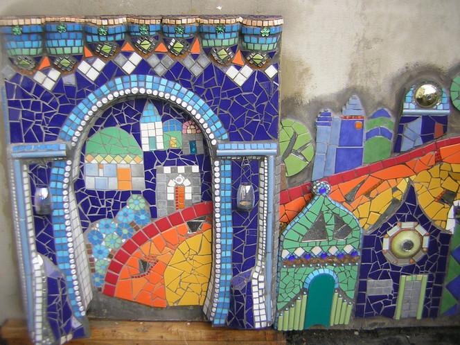 Kachel, Blau, Häuser, Stadt, Mosaik, Puzzle