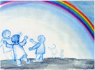 Regenbogen, Bunt, Tanz, Himmel