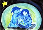 weihnachtsfamilie - blau bunt familie kinder weihnachten