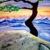 Weite, Berge, Landschaft, Acrylmalerei