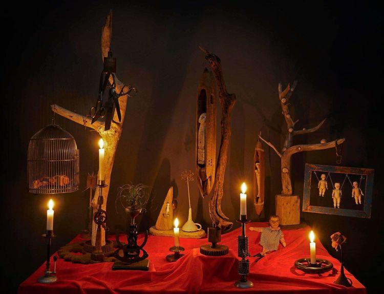 Surreal, Inszenierung, Kerzenlicht, Stillleben, Fotografie, Garten