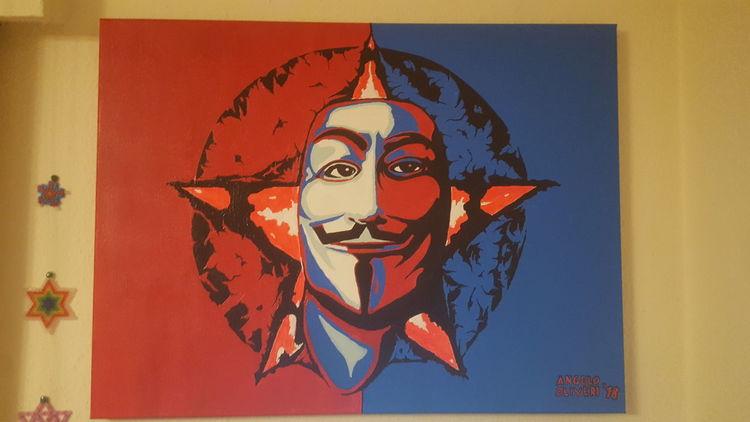 Acrylmalerei, Vendetta, Gesicht, Maske, Malerei