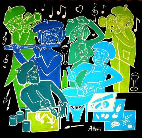 Malen, Musiker, Party, Grafik, Koch, Malerei